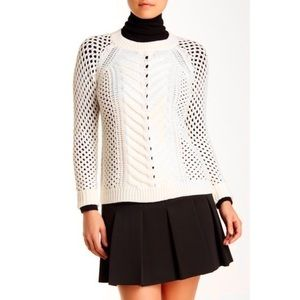Rebecca Taylor Merino Wool Cream Mix Knit Sweater